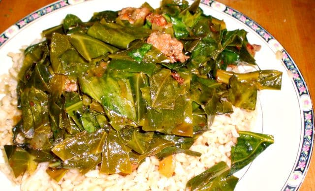 New York Collards - simmered with Italian sausage! www.inhabitedkitchen.com