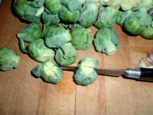 Cutting Brussels sprouts
