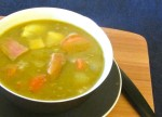 Split Pea Soup with Ham - a perfect use for the ham bone and the last of the meat! A warm, classic delicious soup.