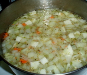 Vegertables Simmering in Broth for Soup