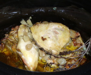 Cooked Chicken in Slow Cooker - Inhabited Kitchen