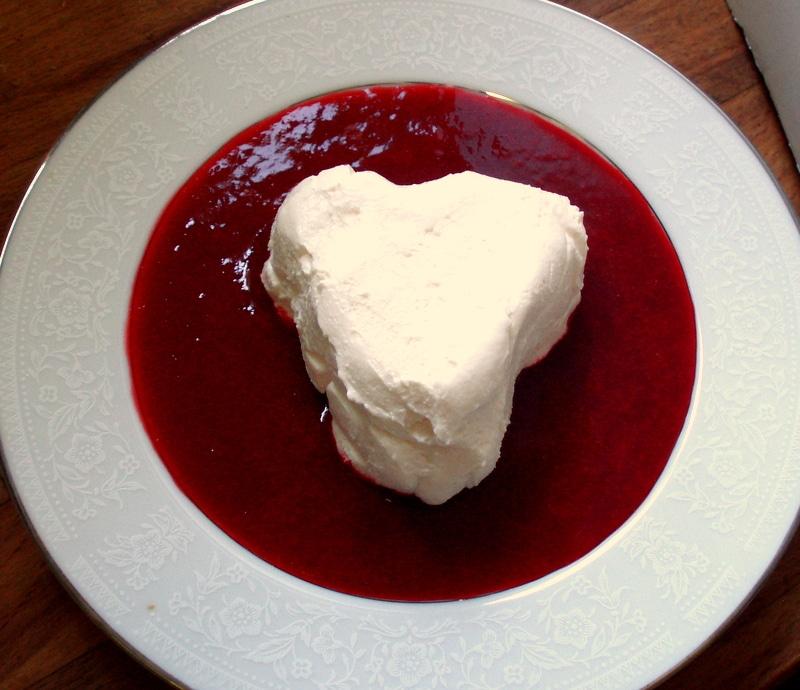 Coeur a la Creme in Raspberry sauce - Inhabited Kitchen