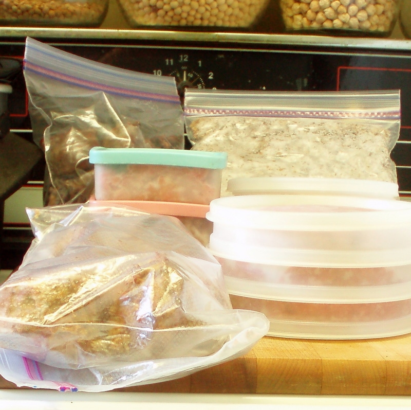 Freezer stash! Packages of meat and beans, ready to use - inhabitedkitchen.com