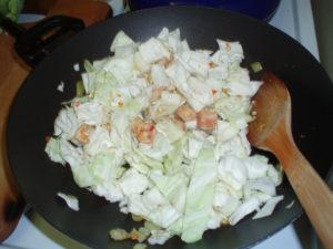 pork and cabbage in pan - inhabitedkitchen.com