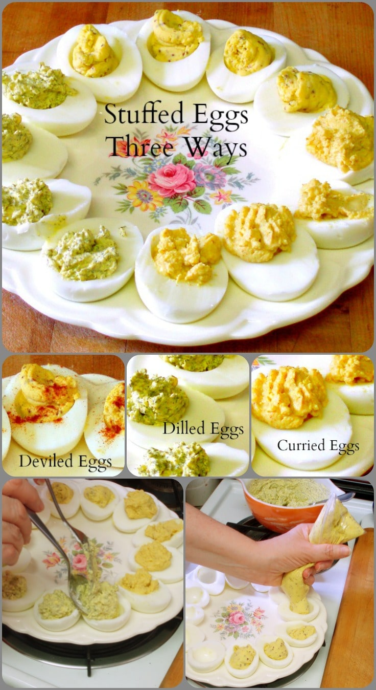 Three different recipes for stuffed eggs - perfect for using Easter Eggs, serving on a buffet, or taking to a potluck!