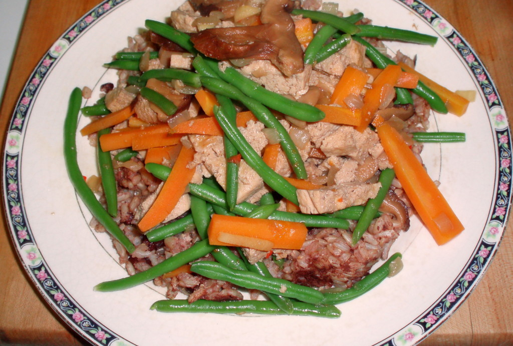 Frozen tofu sauteed with vegetables