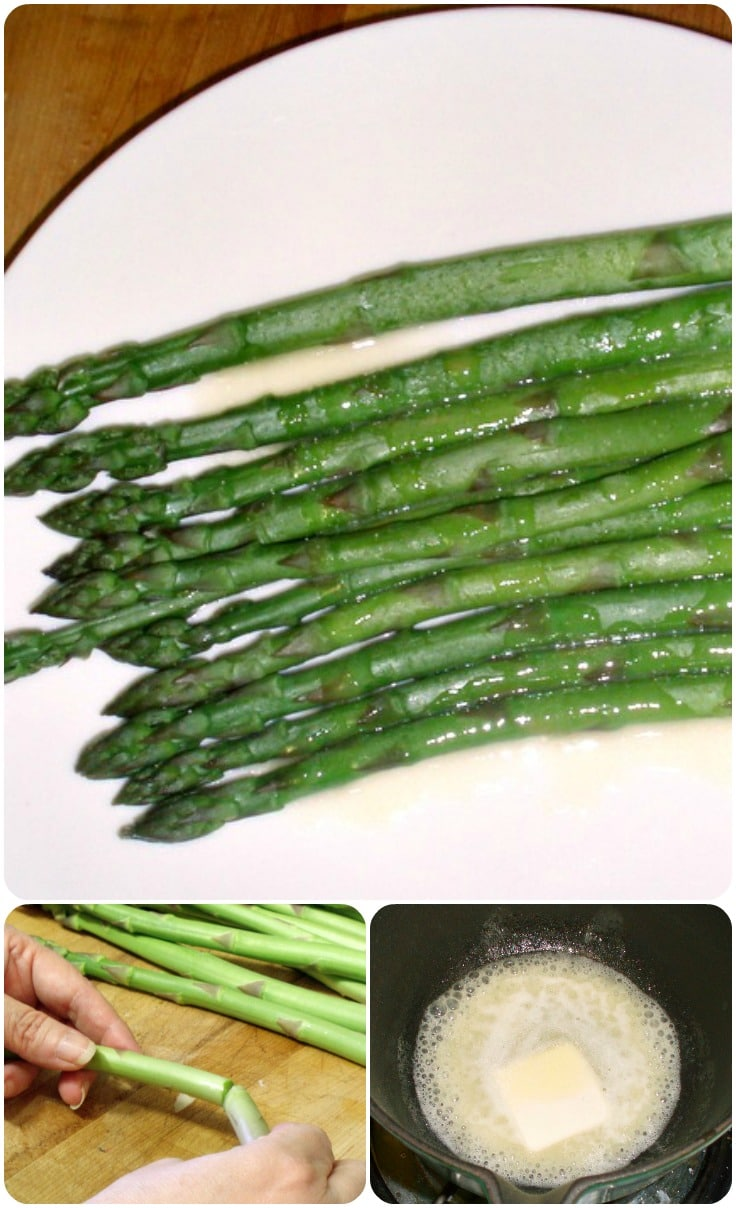 Lovely, fresh asparagus, simply steamed, and served with a creamy lemon sauce