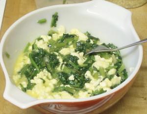 Spinach in egg mix - www.inhabitedkitchen.com
