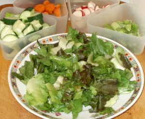 Assembling a salad - www.inhabitedkitchen.com