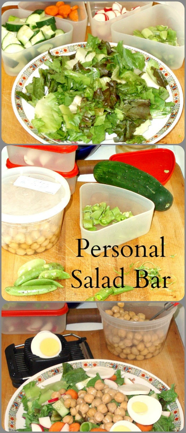 By making my own personal salad bar, in an assortment of refrigerated containers, I can quickly pull together a salad lunch with little effort.
