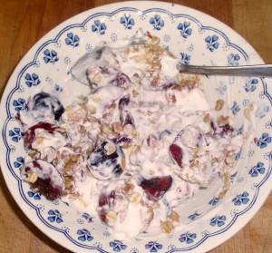 Granola with Cherries and Yogurt