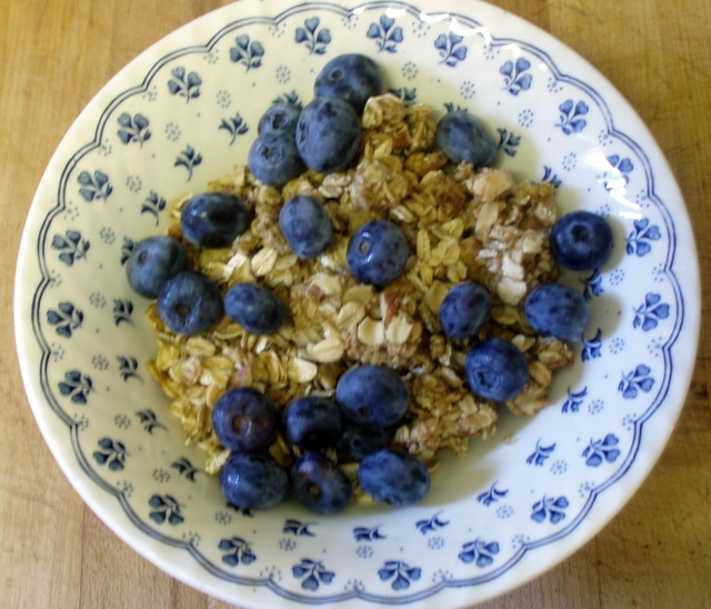 Homemade UnsweetenedGranola with Blueberries - www.inhabitedkitchen.com