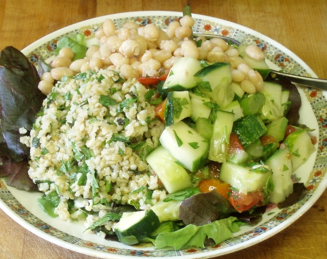 Salad Plate - Tabbouli and Health Salad - www.inhabitedkitchen.com