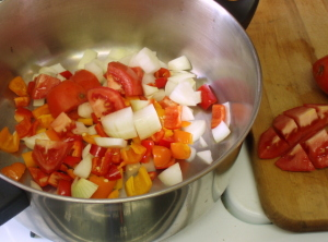 Chopped vegetables in pot - www.inhabitedkitchen.com