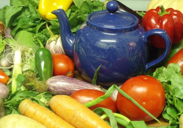 Still Life - Vegetables with Teapot - www.inhabitedkitchen.com