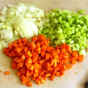 Chopped onion, celery, and carrot, ready to saute