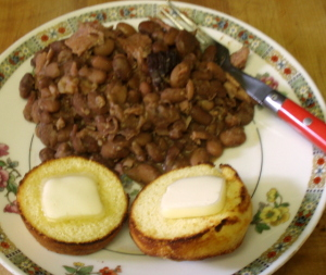 Breakfast - pork & beans, corn muffins - www.inhabitedkitchen.com