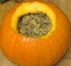 Stuffeed pumpkin, ready to roast - www.inhabitedkitchen.com