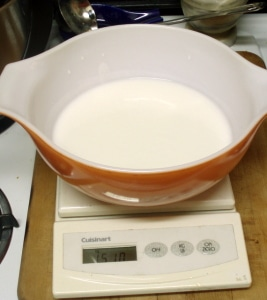 Weighing buttermilk - www.inhabitedkitchen.com
