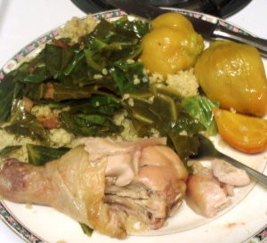 Dinner - chicken, beets, and collards - wwww.inhabitedkitchen.com