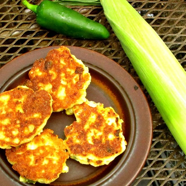 Double Corn Fritters with corn and jalapeno