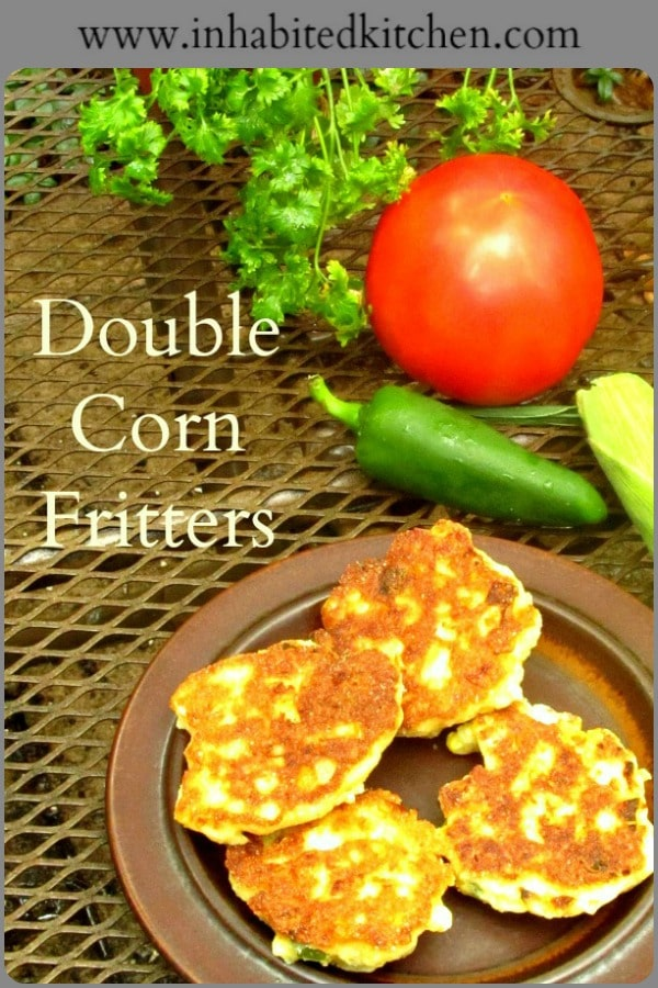 Double Corn Fritters, made with cornmeal, have twice the corn flavor, and no gluten! Crisp, but also tender and moist from the corn and other vegetables!