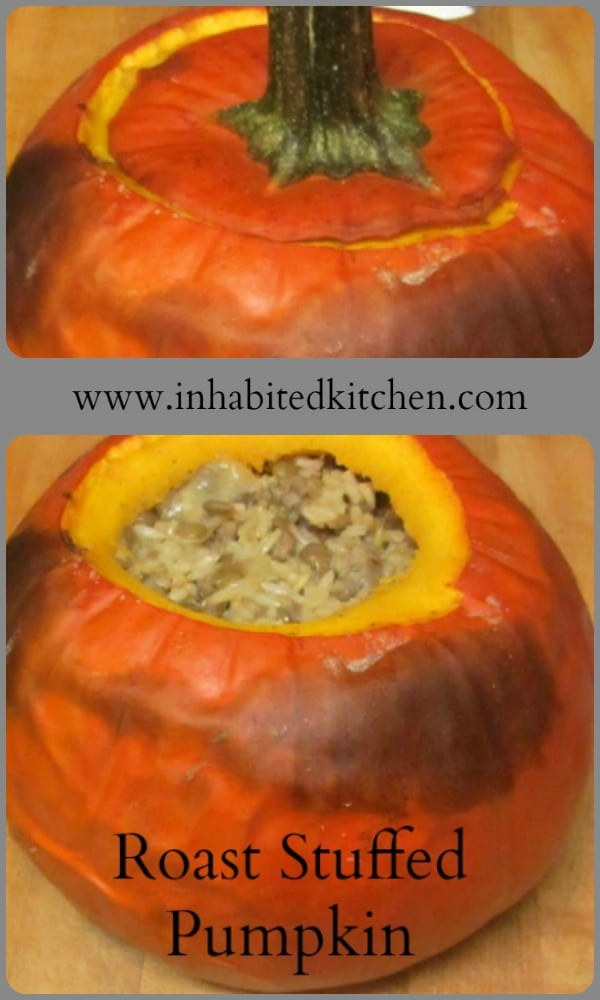 Roast Stuffed Pumpkin with sausage, for a special Fall dinner - a meal for 2, a festive side dish for a dinner party.