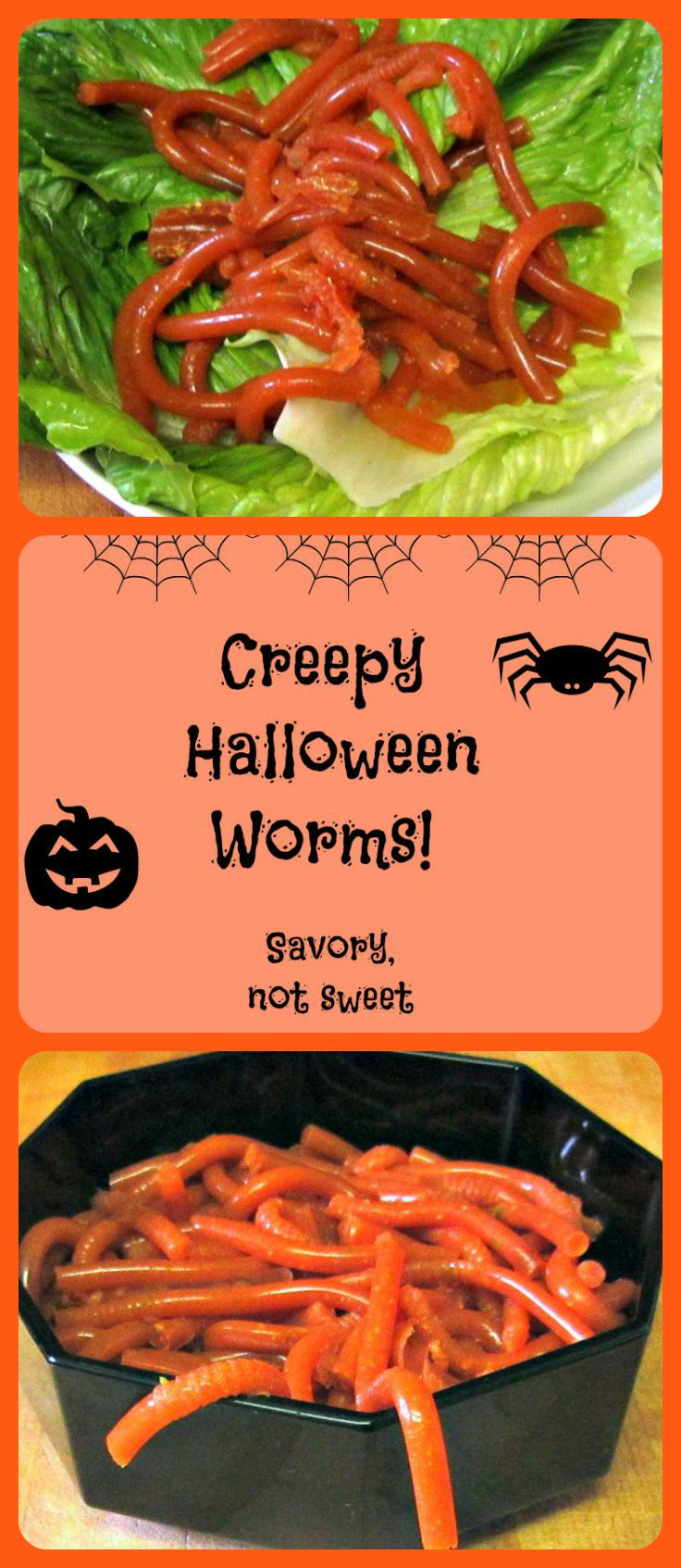 Slithery Savory worms for a creepy Halloween treat (that isn't sweet!)