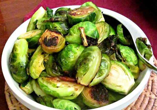 A slightly dressier vegetable dish, pan roasted Brussels sprouts with bacon are wonderful for either a simple meal that needs punch, or a holiday table.