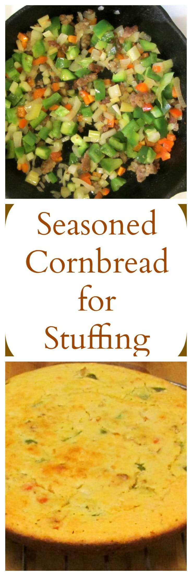 Cornbread baked for stuffing with sausage and aromatics baked right in. An easy and traditional, and gluten free, stuffing recipe.