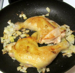 Golden brown chicken, ready to braise