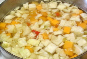 Soup starting to simmer - www.inhabitedkitchen.com