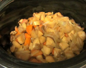 Cooked vegetables in Slow Cooker - www.inhabitedkitchen.com