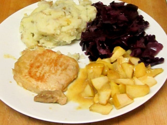 Pork chop with apples, red cabbage, mashed potatoes - www.inhabitedkitchen.com