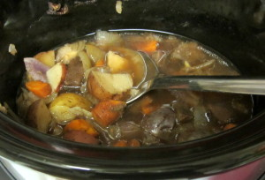 Vegetables and gravy from pot roast - www.inhabitedkitchen.com