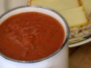 Almost Instant Tomato Soup - with a cheese sandwich as a lunch classic - www.inhabitedkitchen.com