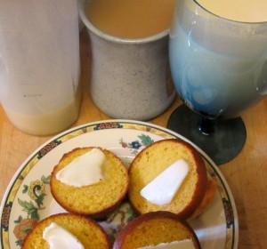 Muffins, protein shake, and coffee - quick breakfast. www.inhabitedkitchen.com