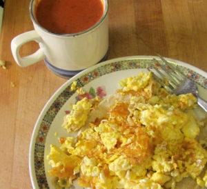 Tomato soup and cheesy eggs - www.inhabitedkitchen.com