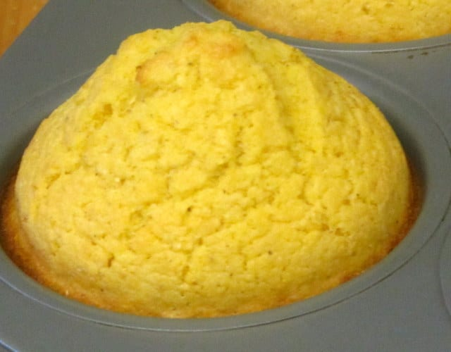 Gluten Free Corn Muffin, made from a homemade mix, right out of the oven! www.inhabitedkitchen.com