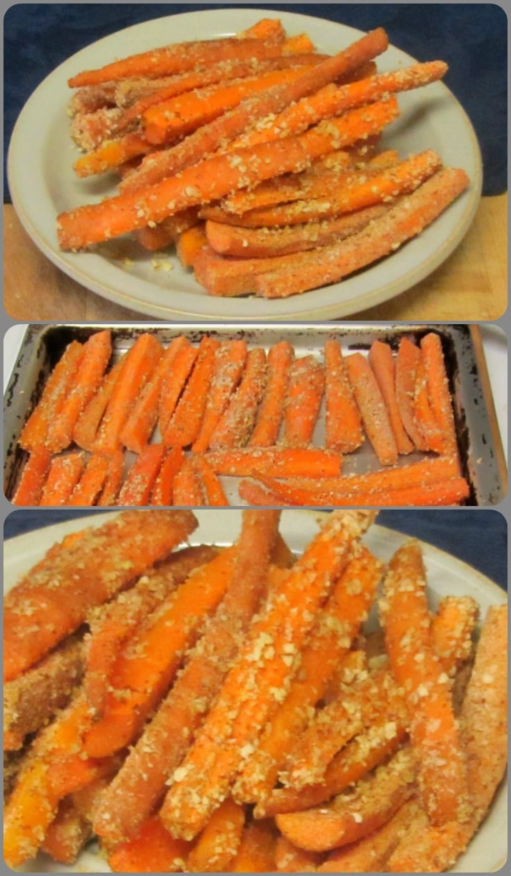 Almond crusted baked carrots - crunchy almonds complementing sweet, tender-crisp carrots, bringing out their best.