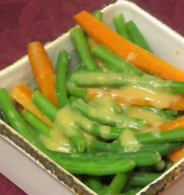 Carrots and Green Beans with a miso sauce - www.inhabitedkitchen.com