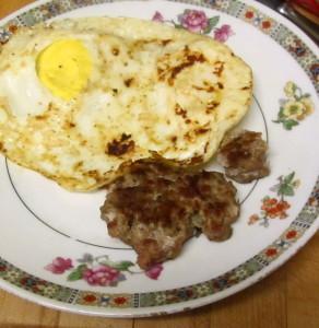Eggs and sausage for breakfast - www.inhabitedkitchen.com