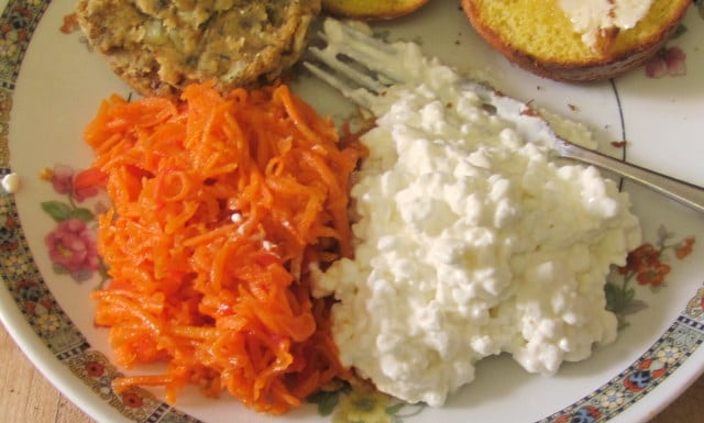 Carrot salad with pickled ginger, served with cottage cheese - www.inhabitedkitchen.com
