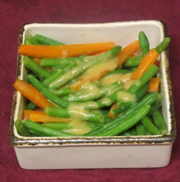 Green beans and carrots in a simple miso sauce - www.inhabitedkitchen.com