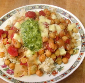 Lunch - chick peas, tomatoes, cheese and pesto - www.inhabitedkitchen.com