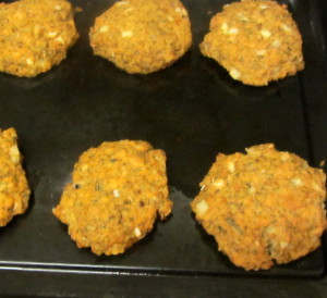 Salmon cakes fresh out of the oven - www.inhabitedkitchen.com