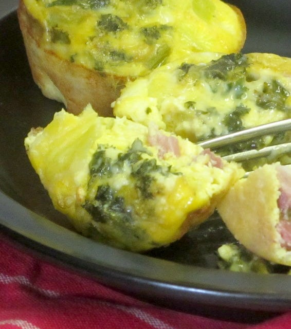 Bake mini egg and ham muffins, then reheat for a quick breakfast! www.inhabitedkitchen.com