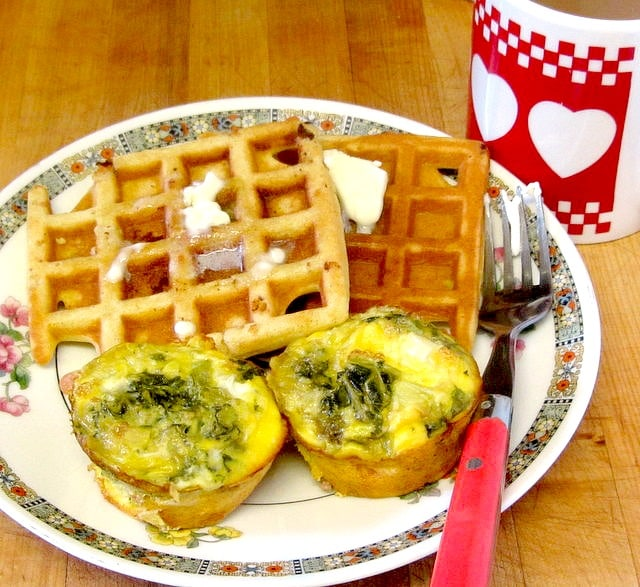 GF waffles and egg and ham muffins - a lovely breakfast! www.inhabitedkitchen.com