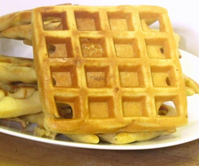 Golden braown, gluten free waffles - www.inhabitedkitchen.com