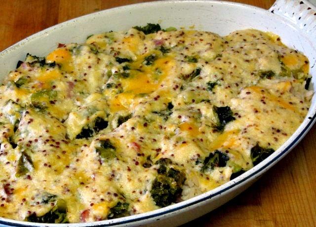 Ham, cheese, and kale bake - ww.inhabitedkitchen